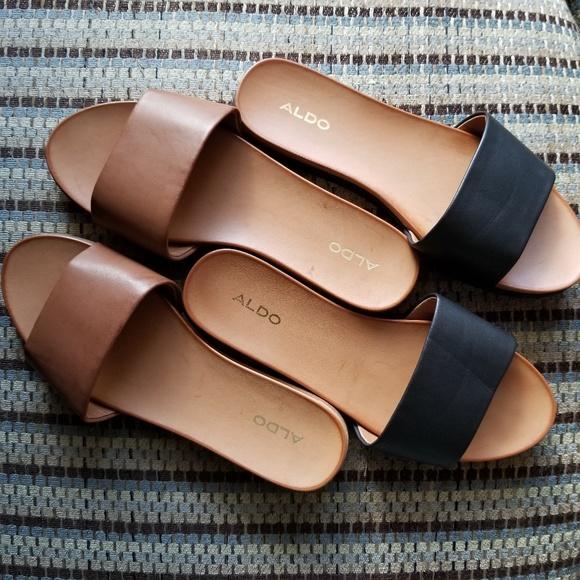 39120e0975cd Aldo Shoes - Aldo Fabrizzia Slide Sandals black and cognac